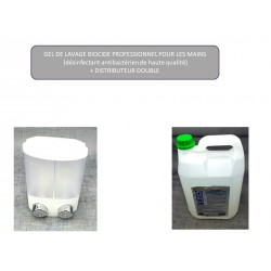 (9b) GEL HYDROALCOOLIQUE 5L +DISTRIBUTEUR DOUBLE COMPARTIMENTS